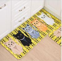 desenhos animados da sala da cozinha venda por atacado-Carpete Piso Tapetes Encantador Gato Dos Desenhos Animados Banheira Sala de estar Tapetes De Banheiro Tapetes Tapete Não-Deslizamento Cozinha Tapetes Nova Moda Conjuntos de Venda Quente