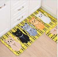 küche zimmer cartoon großhandel-Teppichboden Matten Schöne Katze Cartoon Bad Wohnzimmer Bereich Bad Teppiche Mats Rutschfeste Küche Teppich Fußmatten Neue Mode Heißer Verkauf Sets