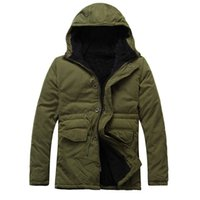 Wholesale Plus Size Outerwear Outdoor - Fall-2016 Men Fashion Chaqueta Hombre Casual Hooded Coat Thick Long Coat Outdoor Jacket Warm Parka Outerwear Jacket Plus Size L-XXL