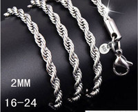 Wholesale 50pcs High quality sterling silver MM inches twisted rope chain necklace fashion jewelry