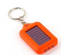 Wholesale Wholesale Mini Solar Flashlight - Solar Power led flashlights Keychain Colorful Mini Rechargable 3 LED Flashlights Emergency Use For Camping Hiking