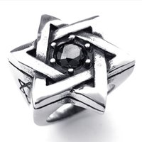 Wholesale Die 14 - 073264-wholesale Die-cast stainless steel Inserts stone Pentagon Lucky star Ring Fashion insets Men's Rings US size:8-14