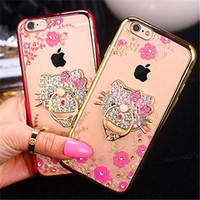 Wholesale Diamond Cellphone - Luxury Bling iPhone7 Case Diamond Floral Printing Cellphone Case Crystal Soft TPU Ring Kickstand Cover for iPhone 6 6s 7 Plus