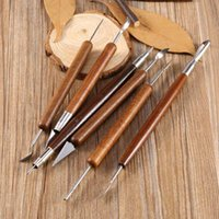 Wholesale Wax Carving Set - 6pcs Clay Sculpting Set Wax Carving Pottery Tools Sculpt Smoothing Polymer Shapers Modeling Carved Tool Wood Handle Set Merry Christmas
