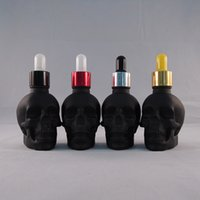 Wholesale Clear Glass Skull Bottles - E Juice Bottles 30ml 60ml 120ml skull glass Dropper Bottles with Child Proof Bottle caps clear color custom logo