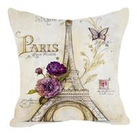 coussins de paillettes noires achat en gros de-Style rétro croquis Paris Tour Eiffel Taille Taie d'oreiller Taie d'oreiller Coussin Lancer Decal Lin Mélange Meterial