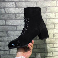 Wholesale Cheap Black Rhinestone Heels - Women Boots Genuine Leather Chunky Heel Shoes Chain Pumps Spring Autumn Slip on Leather Black Gold Luxurious Brand Boots Cheap Wholesale