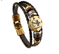 Wholesale Wooden Clasps For Jewelry - Fashion Bronze Alloy Buckles 12 Zodiac Signs Bracelet Punk Leather Bracelet Wooden Bead + Black Gallstone For Men Charm Jewelry HJIA957