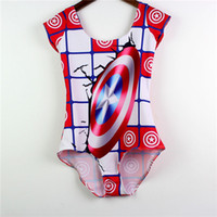 Wholesale America Swimwear - Captain America Shield Swimwear With Sleeve Cover Belly Beachwear Summer Tight Swimming Suit One-Piece Breathable Bathing Sets Women LNSst