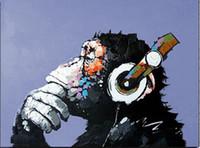 pinturas a óleo macacos venda por atacado-2016 Nova Pintura A Óleo pintados à mão Pintura A Óleo sobre Tela Abstrato Macaco Arte Da Parede para a Decoração Para Casa Imagem Sem Moldura Pinturas A Óleo
