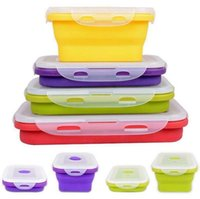 Wholesale Lunchbox Container - Silicone Collapsible Portable Lunch Box Bento Boxes Folding Food Storage Container Lunchbox Food Fruits Holder 4pcs set OOA2890