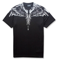 Wholesale pink feather wings - 18ss new Marcelo Burlon T-Shirt Men Milan MB Feather Wings T Shirt Men Women Couple Fashion Show RODEO MAGAZINE T Shirts Goros camisetas