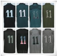 Wholesale 11 Black Elite Jersey - With Name Stitched 11 Wentz JR Jersey All Collections Fashion Lights Out Drift USA Flag Army Military Type Salute Elite Football Jerseys