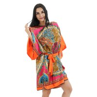 Großhandel-Orange Plus Size 6XL Frauen Kimono Bademantel Seide Rayon Robe Kleid Chinesischen Stil Nachthemd Lose Beiläufige Nachtwäsche Blume