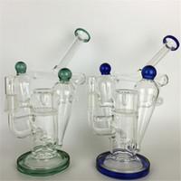 zoll glas wasser pfeifen perkolator grün großhandel-Percolator Bongs Grüne Lippe umwickelte Recycler-Anlage 9-Zoll-Doppelkammerglas-Wasserpfeifen mit 14 mm Inline-Raster-Perc-Tupföl Rigs berauschend
