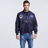 Wholesale American Bomber - Wholesale- High Quality Navy flying jacket,Nylon Winter varsity american college bomber flight jacket for men