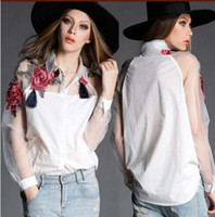 Wholesale Elegant Blouse Woman - NEW ARRIVAL WOMEN TURN DOWN COLLAR EURO FASHION EMBORIDERY FLOWERS ORGANZA COTTON WOMEN'S BLOUSE LADY ELEGANT CASUAL SHIRT & BLOUSE