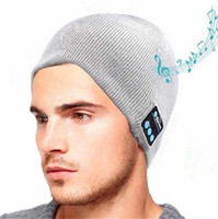 Wholesale Bluetooth Earphone Bag - Wireless Bluetooth Hat Music Beanie Cap Headset Headphone Soft Warm earphone Speaker Microphone Handsfree OPP Bag Package Chirstmas gift