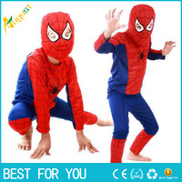 Wholesale Teenage Spiderman Costume - Super Hero Children Theme Party Costume Spiderman Clothing Halloween Boys Girls Dress Up Cosplay Costume