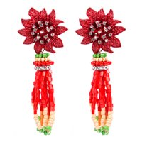 Wholesale Acrylic Sunflower Beads - 2018 Spring Summer Alloy Sunflower Beads Earrings Women Bohemia Style Big Charm Earring Red Yellow 12PRS Free Shipping