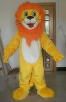 Cheap 100% real picture a yellow lion mascot costume with orange hair for adult to wear