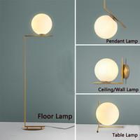 cam masa lambaları yatak odası toptan satış-LED Modern Zemin Lambaları Kolye Işıkları Masa Lambası Yatak Odası Cam Ofis Oturma Odası Duvar Işık Uydurma