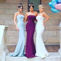 vestido de novia azul claro morado al por mayor-Púrpura, azul, blanco, sirena, satén, vestidos de dama de honor, sin tirantes, vestidos formales de dama de honor, por encargo, modestos vestidos de fiesta para invitados