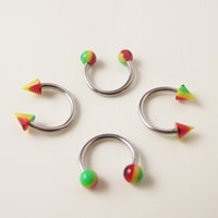 Acrylic, Resin, Lucite spike ball earrings - 100pcs Stainless Steel Nose Ring Circular piercing Rainbow ball Spike Horseshoe Rings CBR ring BCR earring