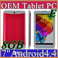 Wholesale 3g For Android Tablet - E 7 inch 3G Phablet Android 4.4 MTK6572 Dual Core 8GB 512MB Dual SIM GPS For Phone Call WIFI Tablet PC Bluetooth B-7PB