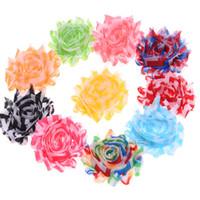 Wholesale Shabby Chevron - Wholesale 100PCS Shabby Chiffon Ruffles Flower Artificial Hair Flower for Hair Accessories Chevron Style Flowers No clip
