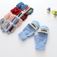 Wholesale Wholesale Kids Fleece Gloves - Wholesale Gloves New 2017 cute embroider Boys Girls Winter Gloves Children Finger Gloves Kids Fleece Glove Baby Mittens Toddler wear A1131