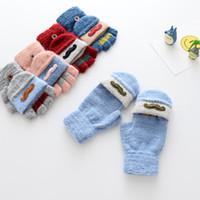 Wholesale Mitten Wear - Wholesale Gloves New 2017 cute embroider Boys Girls Winter Gloves Children Finger Gloves Kids Fleece Glove Baby Mittens Toddler wear A1131