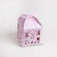 Wholesale Orange Pink Candy Boxes - 100pcs lot free shipping laser cutting cartoon lovely little bear paper candy chocolate snack boxes for wedding birthday party decoration