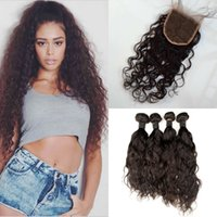 Wholesale best pure water - Best Quality 4 Bundles With Lace Closures Indian Virgin Hair Water Wave Human Hair Bundles With Closure G-EASY Hair Free Shipping