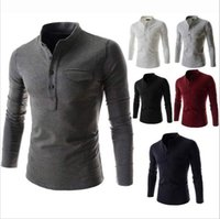 Wholesale Polo Shirt Long Sleeve Pocket - New Arrival Solid Color Polo Shirt Men 2016 Fashion Stand Collar Gray Long Sleeve Polo Shirt Casual False Pocket Henley Shirt