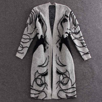 Wholesale Europe Winter Coat - 2017 autumn and winter Europe and America new knitting cardigan sweater loose bat sleeve long section of female coat
