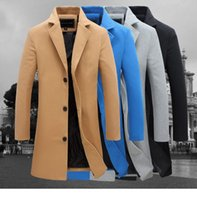 Wholesale Trench Coat 2xl Men - 2016 autumn and winter fashion new men leisure slim trench coat   Men's long sleeve young man dust coat size M-5XL FY091