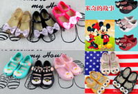 Wholesale Alice Shoes - 2016 Melissa baby sandals Alice Mickey minnie Mouse Bow kids shoes princess shoes PVC Soft sole girls summer shoes 24-29 DHL C515
