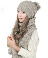 New Winter Warm Women Fashion Sciarpa lavorata a maglia Hat Set Crochet Cap Beanie Ski Hats Regali di Natale Poms Caps