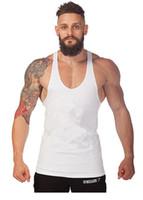 Wholesale Cheap Gym Vests - Cheap 12 Colors Cotton Stringer Bodybuilding Equipment Fitness Gym Tank Top shirt Solid Singlet Y Back Sport clothes Vest 100pcs lot