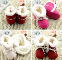 Wholesale Red Boots For Toddlers - Infant Winter waist cotton boots leisure soft bottom baby warm shoes for 0-1 T newborn slip bottom toddler Snow Boot 3COLOR