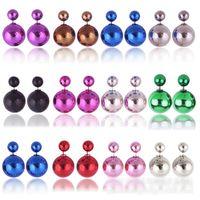 Wholesale Cheap Black Pearl Earrings - 50Pairs 16mm*8mm Black Double Sided Pearl Earrings,Double Stud Earrings, Cheap Double Pearl Stud Earrings for Women