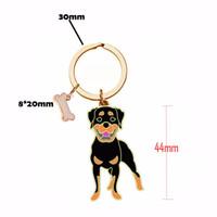 Wholesale Black Pomeranian - Wholesale Pomeranian PET Key Chain Metal KeyChains Bone Pendant Luxury Keychain 18k Gold   Silver Palted Cute Black Dog Key Ring