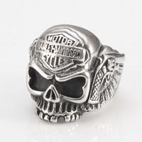 Wholesale Cool Riders - European stainless steel HARLEY RIDER Cool Skull Punk Davidson locomotive male Ladies Ring