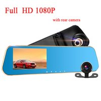 Wholesale Dash Camera Detector - Full HD 1080P Car camera car DVR dual dash cam car-detector tachograph with blue review mirror digital Video registrator car