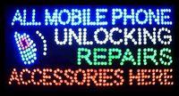 telefonzubehör geschäfte großhandel-Heißer Verkauf 15,5X27,5 zoll indoor Ultra Helle blinkende reparaturen alle handy entsperren zubehör business shop zeichen von led-