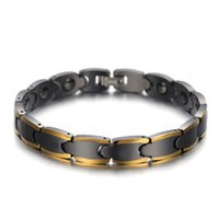 Wholesale health energy care bracelet resale online - Fashion Tungsten Carbide Bracelets Unisex Chain Tungsten Steel Energy Balance Magnetic Gold Color Health Care Jewelry