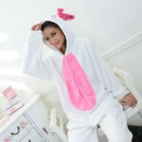 Wholesale Rabbit Animal Onesies - New Cute Animal White Rabbit Lovely Fleece Full Sleeves Hooded Female lovely Sleepwear