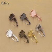 Wholesale Earring Tray Diy - BoYuTe 50Pcs 7 Colors Plated 10 12 14 16 18 20MM Round Cabochon Earrings Base Blank Tray Setting Diy Jewelry Findings Components