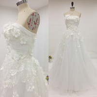Wholesale China Flower Gown - Real Image A Line Wedding Dresses Strapless Sleeveless Wedding 3d Applique Handmade Flowers Pearls Bridal Gowns from China with Train